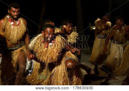Fijian Men Dancing A Traditional Male Dance Meke Wesi In Fiji