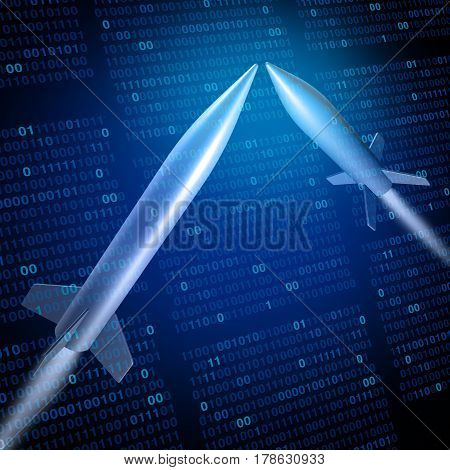 Cyber war or cyberwarfare military defense technology concept as missiles attacking with binary code background as a 3D illustration.