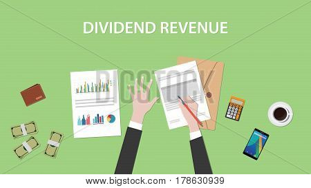 dividend revenue illustration with a man signing paperworks and folder document, money and calculator on top of table vector