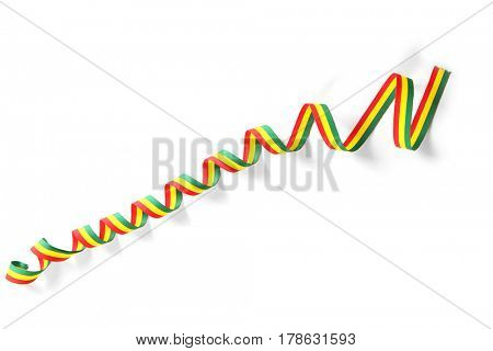 Ribbon in colors of Bolivian flag on white background