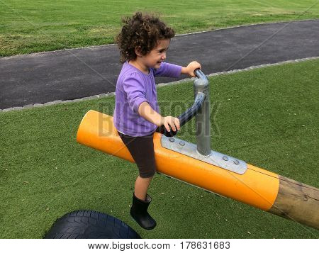 Child Girl Rides On Seesaw
