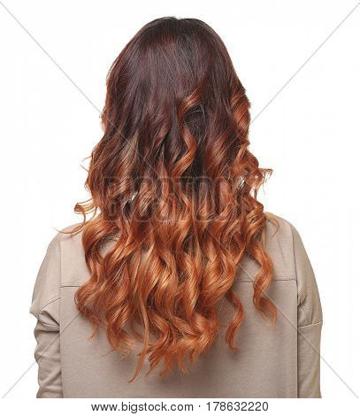 Woman with modern hairstyle on white background