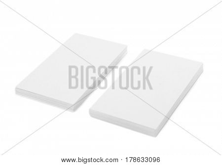 Blank paper cards for branding on white background