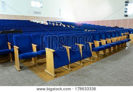 Modern interior of school assembly hall
