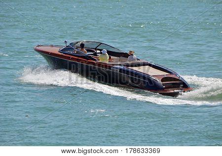 Luxury motorboat cruising on the florida intra-coastal waterway