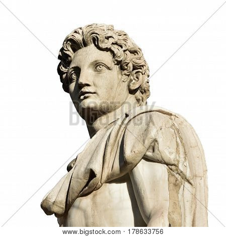 Detail of Dioskouri ancient roman marble statue from the Capitol Hill Square balustrade (isolated on white background)