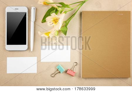 Stationery, smart-phone and business cards on light table