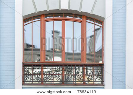 Vintage building with arched window