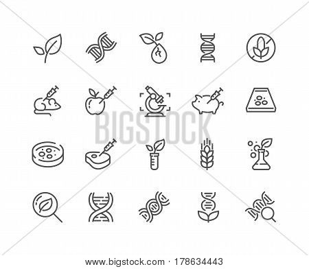 Simple Set of GMO Related Vector Line Icons. Contains such Icons as DNA, Lab Tests, Petri Dish and more. Editable Stroke. 48x48 Pixel Perfect.