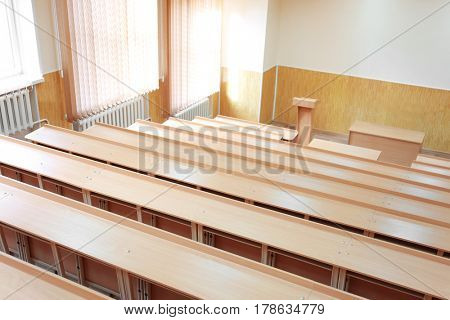Interior of big modern classroom