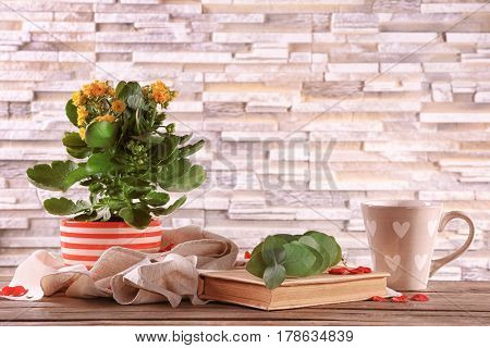 Beautiful kalanchoe plant with book and cup on brick wall background