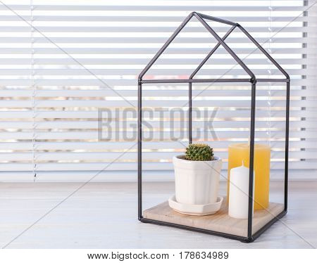 Beautiful composition with cactus and candles on windowsill
