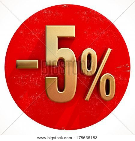 3d render: Gold 5 Percent Sign on Shabby Red Circle with Shadow, 5% Off