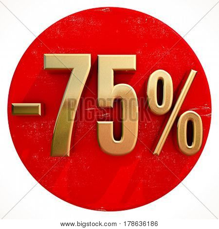 3d render: Gold Percent Sign on Shabby Red Circle with Shadow