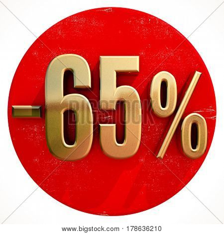 3d render: Gold 65 Percent Sign on Shabby Red Circle with Shadow, 65% Off