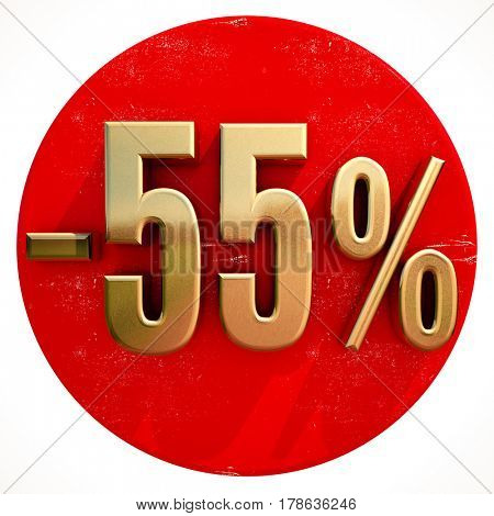 3d render: Gold 55 Percent Sign on Shabby Red Circle with Shadow, 55% Off