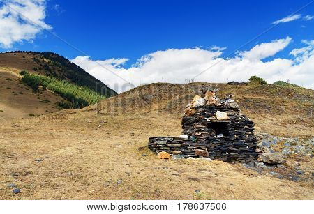 Pagan Shrine In Shenako Village. Tusheti Region. Georgia