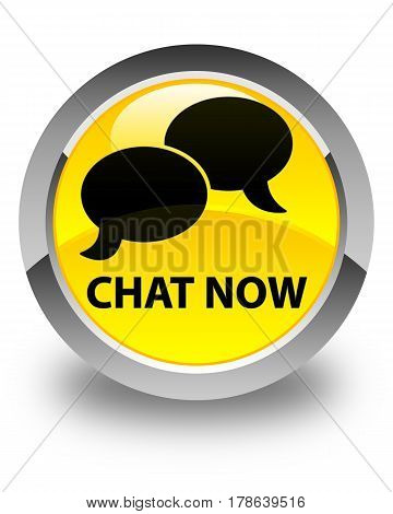 Chat Now Glossy Yellow Round Button