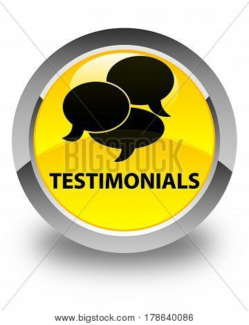 Testimonials (comments Icon) Glossy Yellow Round Button
