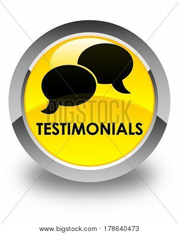 Testimonials (chat Icon) Glossy Yellow Round Button