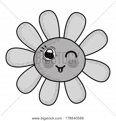 grayscale kawaii funny flower with tongue outside, vector illustration design