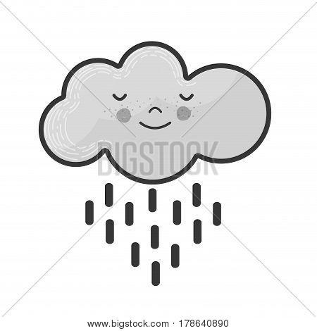 grayscale kawaii tranquil cloud raining icon, vector illustration design