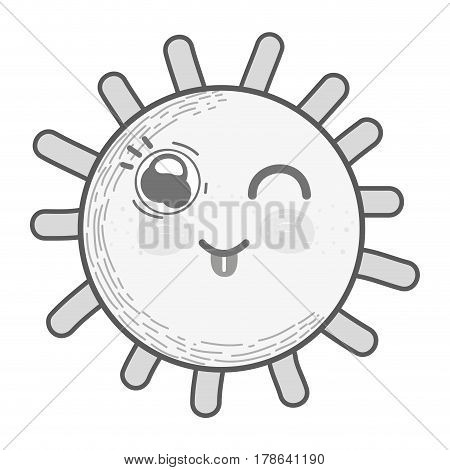 grayscale kawaii sun fanny face with cheeks and tongue, vector illustration design