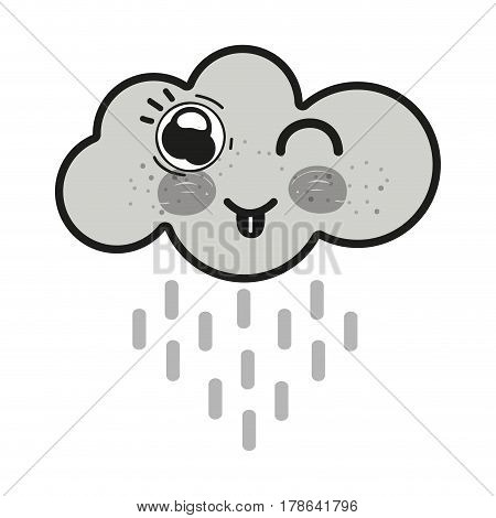 grayscale kawaii raining cloud funny with tongue outside, vector illustration design