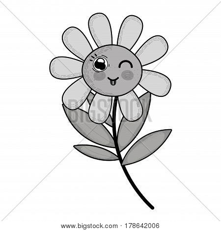 grayscale kawaii funny flower plant with tongue outside, vector illustration design