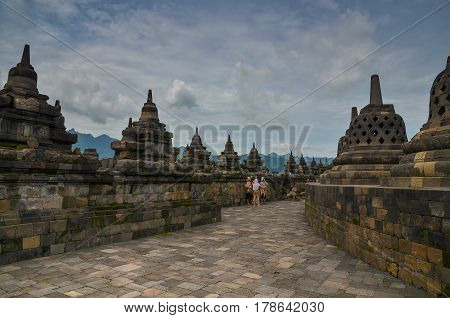 Magelang, Central Java, Indonesia - Circa January 2012 - Stupas at Borobudur, Indonesia