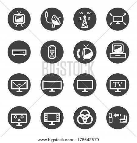 tv television technology icon set vector gray icon .