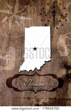 Poster Indiana state map outline. Styling for tourism.