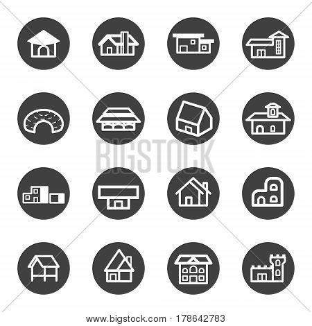 house home residential icon set vector .