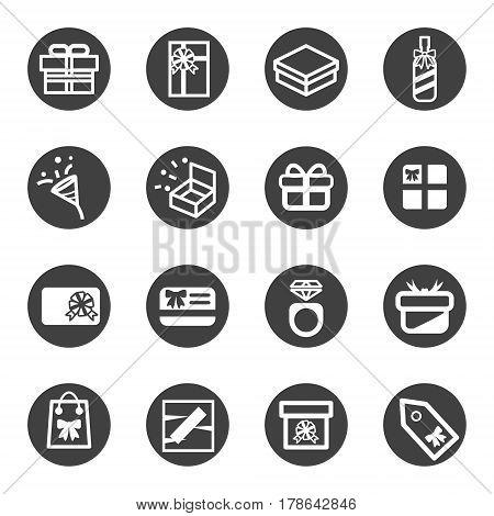 gift present box line flat icon set vector