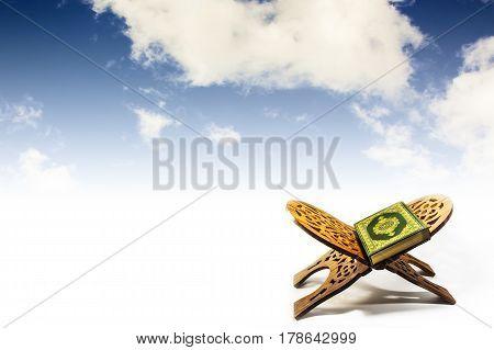 Koran - holy book of Muslims , koran with sky