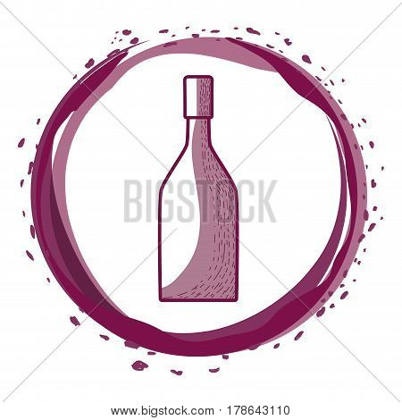 wine bottle inside the bubble, vector illustration design