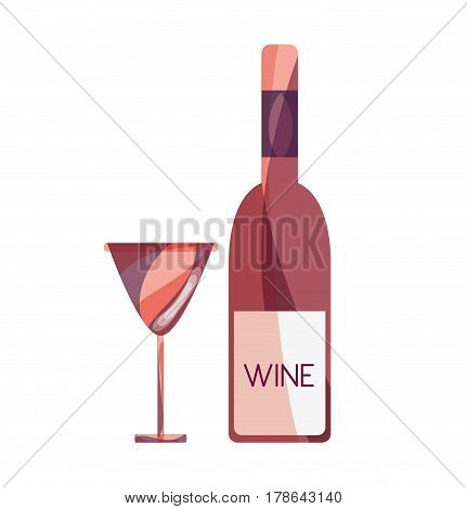 wine bottle with glass beverage, vector illustration design