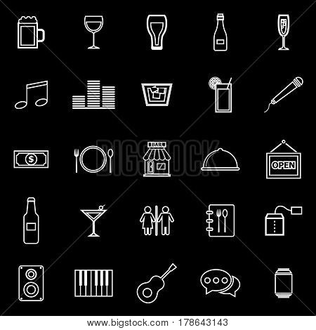Bar line icons on black background, stock vector