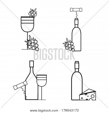 wine bottles and glass with grape, cheese and corkscrew, vector illustration