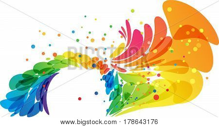 Color abstract round border on white background