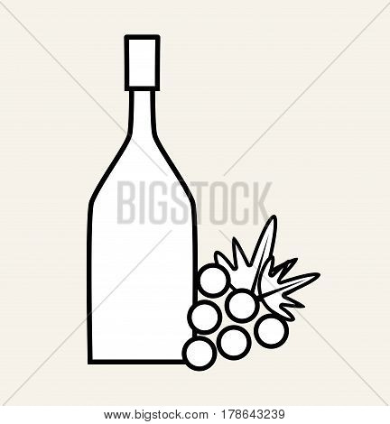 wine bottle with grape fruit, vector illustration design