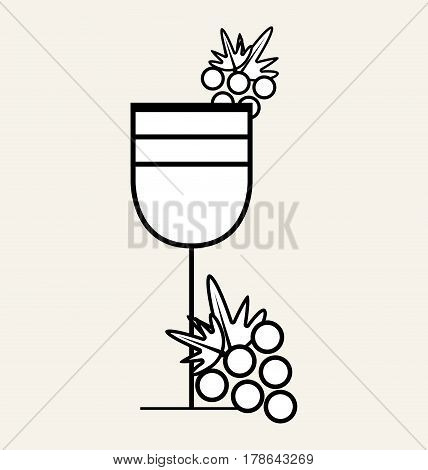 wine glass with grape fruit, vector illustration design