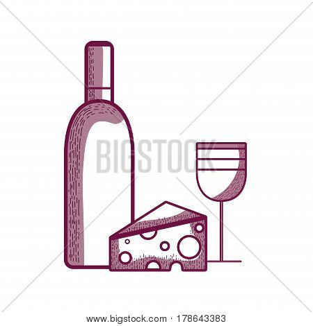 wine bottle and glass with tasty cheese. vector illustration design
