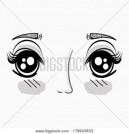 anime beauty woman face, vector illustration design
