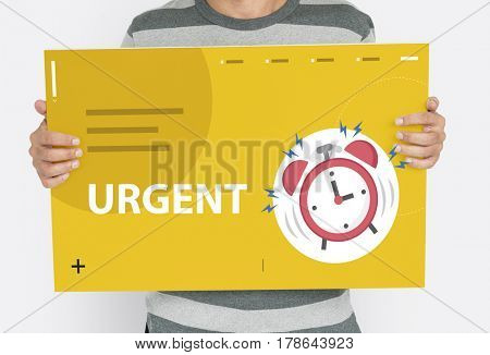 Man holding banner of alarm clock notification for important appointment