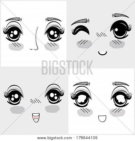 anime nice woman faces expressions, vector illustration