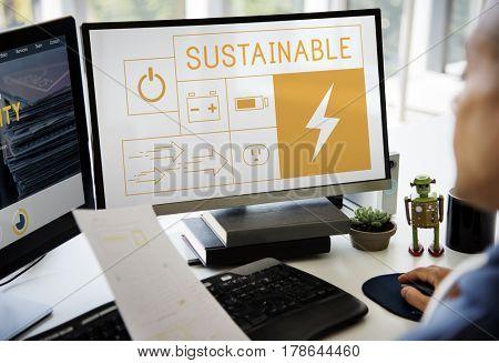 Illustration of energy saving sustainability power generation on computer