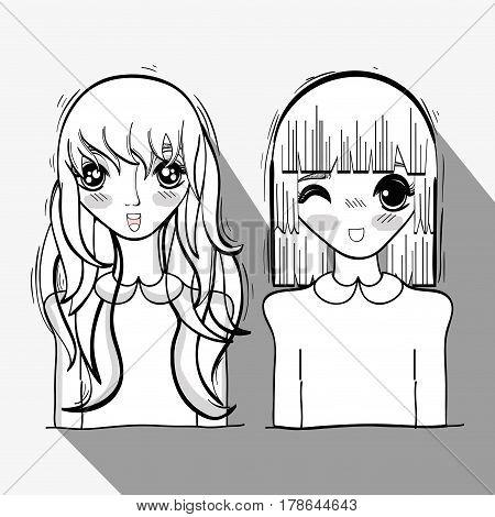 anime cute tender women, vector illustration design