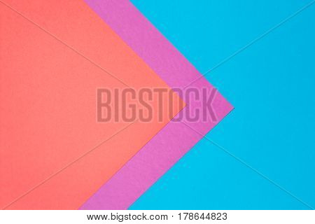 Composition with red, purple and blue sheets triangle