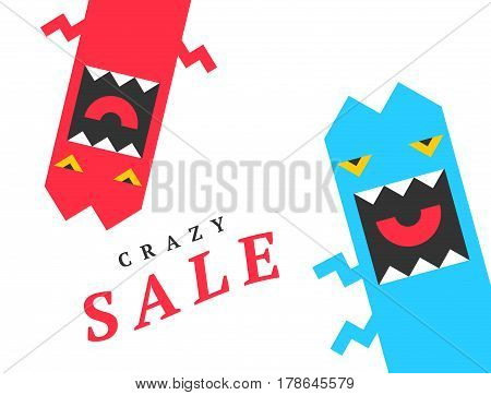 Crazy sale design template, with fun monsters. Vector Background